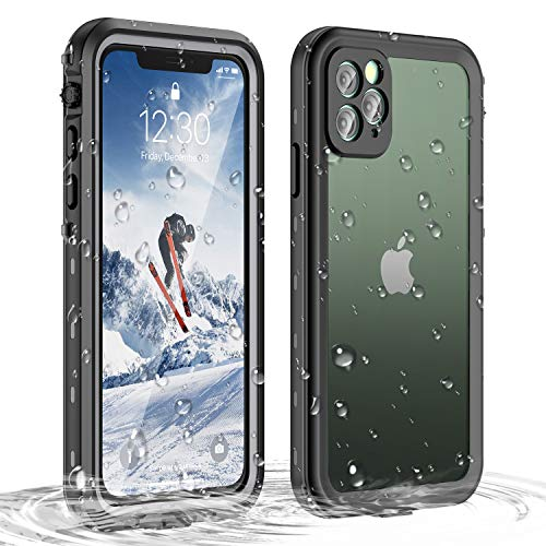 Janazan iPhone 11 Pro Waterproof Case, 360 Full Body Clear Protective Case with Built-in Screen Protector, Waterproof Shockproof Snowproof Dirtproof for iPhone 11 Pro 5.8 inch 2019 (Black/Clear)