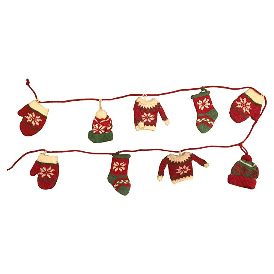Nantucket Holiday Garland Knit Sweaters, Hats and Stockings Swag 9 ft