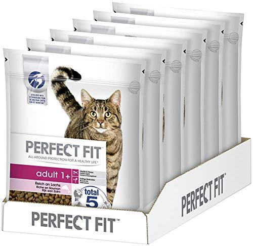 Perfect Fit Adult 1+ – Trockenfutter für erwachsene Katzen ab 1 Jahr – Reich an Lachs – Unterstützt die Vitalität – 6 x 750 g