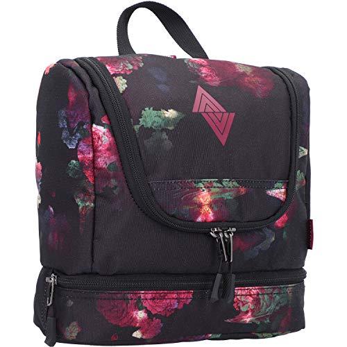 Travel Kit stylische Reisewaschtasche mit extra Bodenfach Kulturbeutel zum Aufhängen Kosmetiktasche mit vielen Staufächern für Reisen und Campen Toiletry Bag, 25x24x11 cm, Black Rose