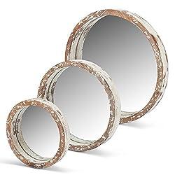 Lone Elm 94149 White Wood Round Mirrors (Set of 3), 22 x 19 x 2