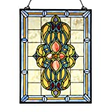 Bieye W10030 Victorian Tiffany Style Stained Glass Window Panel Hangings with Chain, 18'W x 25'H