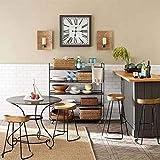 Taburetes de bar, set de 2 silla de la manera cocina bar for desayunos Comedor Contador de Tramas Negro metal Diseñador madera sólida ergonómico Retro Vintage Top rústico taburete de estilo industrial
