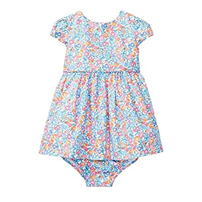Ralph Lauren Baby Girl Floral Cotton Dress & Bloomer (Amelia Floral, 24 Months)