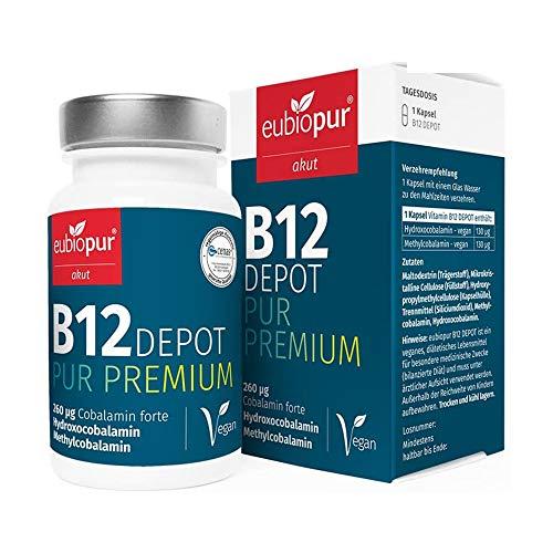 Vitamin B12 vegan, Hoch Bio-Aktiv, 60 Kapseln 260µg hochdosiert, Tabletten aus je 130µg Methylcobalamin und Hydroxocobalamin hergestellt in Deutschland