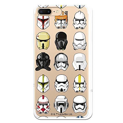 Funda para iPhone 7 Plus - iPhone 8 Plus Oficial de Star Wars Patrón Cascos para Proteger tu móvil. Carcasa para Apple de Silicona Flexible con Licencia Oficial de Star Wars.