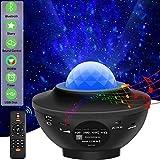 Sternenhimmel Projektor Kind Musik Bluetooth Lampe Multifunktion, Sternen Ozeanwellen Effekt, Einschlaflicht mit Timer, mit Bluetooth Lautsprecher,Party Kugel,Fernbedienung,Netzbetrieben