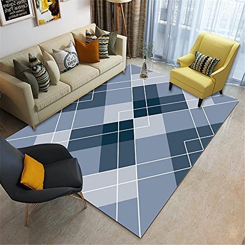 La alfombras Antideslizante Suelo Alfombra Antideslizante del balcón de la Sala de Estar del Estilo geométrico Moderno Gris Azul Antideslizantes para alfombras 160*200cm