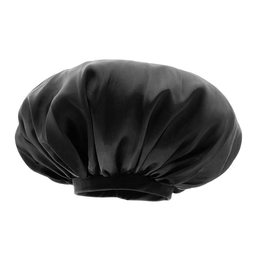 T TOOYFUL 入浴キャップ 美容 キャップ スリープキャップ 調節可能な サテン 通気性 全6色 - ブラック