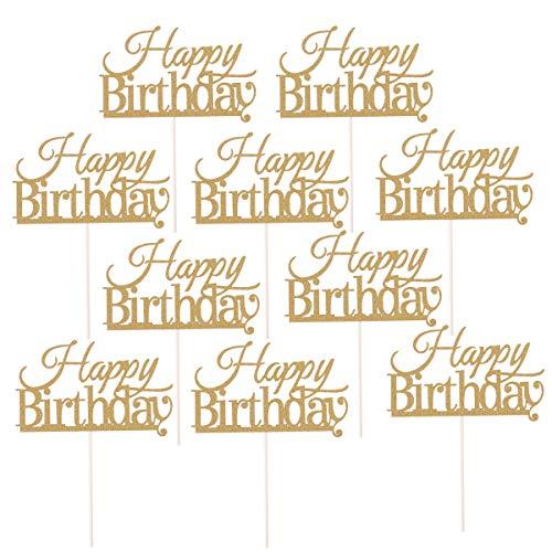 BESTOYARD 10 Stück Happy Birthday Cake Topper Kuchen Dekorationen Partybedarf (Golden)