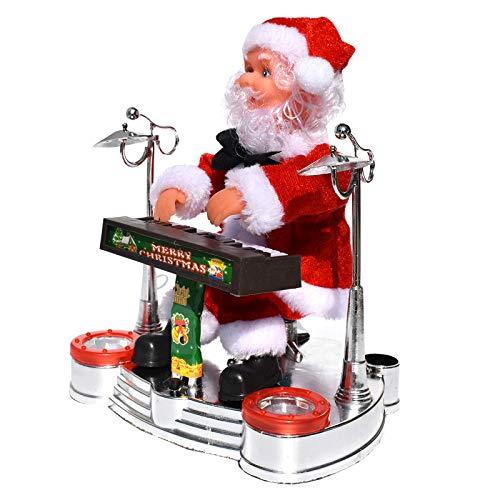WJUAN Elektrische Santa Claus Die Klaviermusik-Puppen-Weihnachtsverzierungen Spielt,A