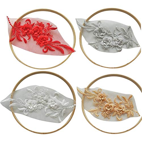 Haude 4 Colors,Golden, White, Red, Grey 3D Appliques Lace, Embroidery Beaded Lace, Dress Diy, Sewing