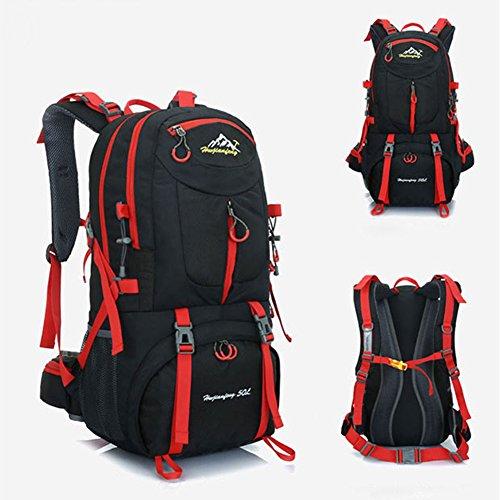 50L Travel Rucksack, ideal für Outdoor Sport, Wandern, Trekking, Camping Reisen, Bergsteigen. Wasserdichte Bergsteigtasche, Reiseklettern Daypacks, Rucksack, Rucksack. (Schwarz)