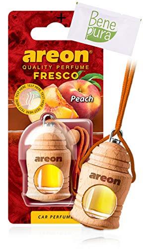 AREON Ambientador Perfume Fresco 4 ML - Aroma de melocotón - Difusor de Botellas Colgante con Cubierta de Madera Natural, Larga duración