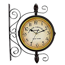 Double Sided Wall Clock, Wrought Iron Vintage Station Clock Two Faces Dual side Antique Vintage Circle Station Wall Side Hanging Clock with Scroll Wall Side Mount Home Décor Wall Clock, 8-inch