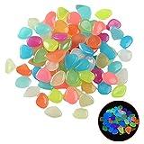 Saicowordist 100 piezas de adoquines luminosos, piedras artificiales brillantes de resina, decoración de piedra para el hogar, jardín, pasarelas, acuario, pecera