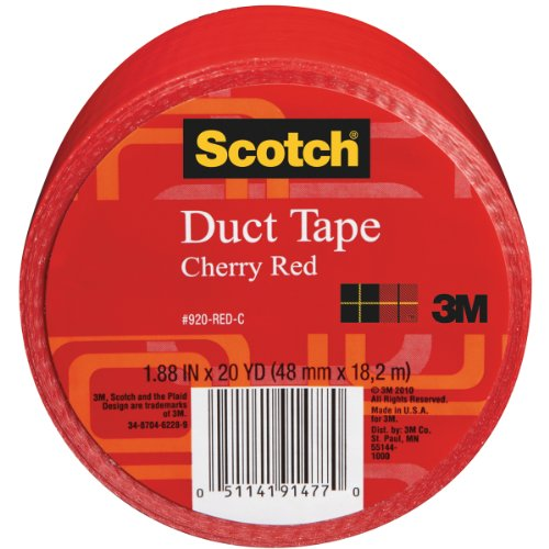 Scotch Duct Tape, 1.88 in x 20 yd, Cherry Red, 1 Roll (920-RED-C)