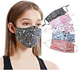 [US Stock] 5PCS Women Cloth_Mask Face Bandanas Reusable Washable Skin Care With Adjustable Earloops Floral Print Design House Outdoor Sports Protection Breathable Comfortable (Multicolor)