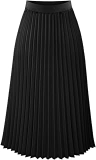 Womens Ladies Summer Boho Flared Pleated Skirt A-line Midi Skirts