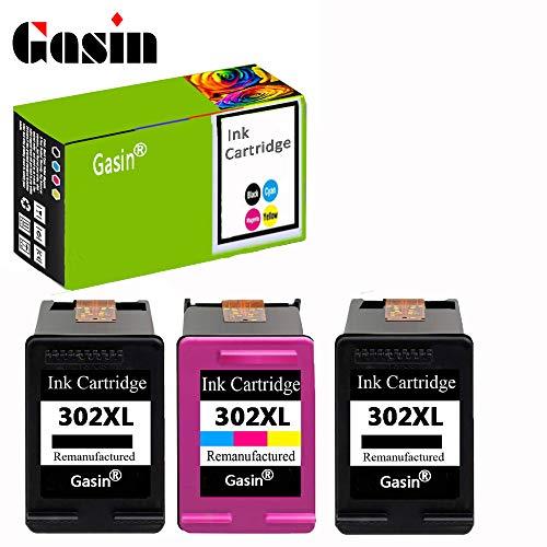 GASIN Cartucho de tinta remanufacturado para HP 302 xl (2Black & 1Tri-color) Compatible con Envy 4524 4522 4523 4520 Officejet 3830 Deskjet 3630 Impresora