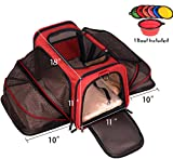 Petpeppy.com Two Sided Expandable Pet Carrier - Airline Approved - Luxury Tote Exterior, Designed for Cats, Dogs, Kittens, Puppies - Extra Spacious Soft Sided Carrier! (RED)