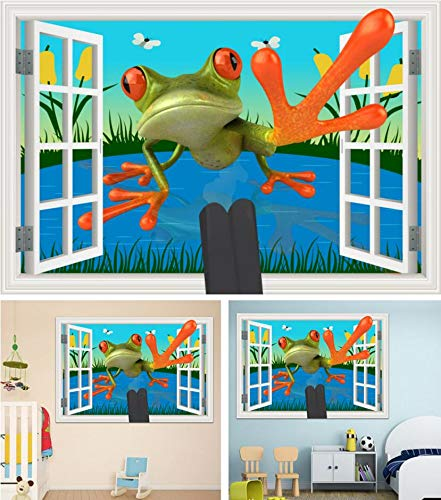 TWTIQ Pegatinas De Pared 3D Pegatinas De Pvc Arte Aplique Decoración Ventana 3D Rana De Dibujos Animados Imagen Extraíble Dir WallpaperXxl