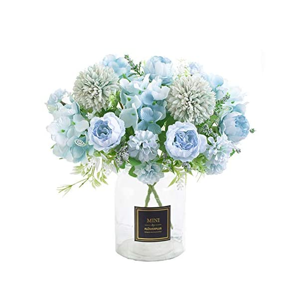 Tutuziyyy Artificial Flowers 7 Branches Silk Fake Peony Flowers Leaf Hydrangea Wedding Floral Decor Bouquet,Pack of 2