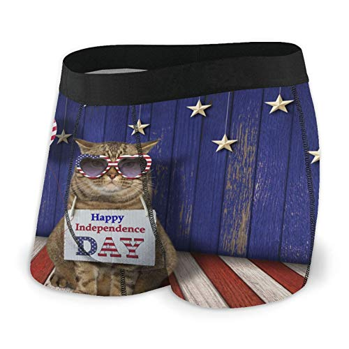 Whhfashion Un gato en gafas de sol calzoncillos tipo bóxer para hombre, suave y cómodo