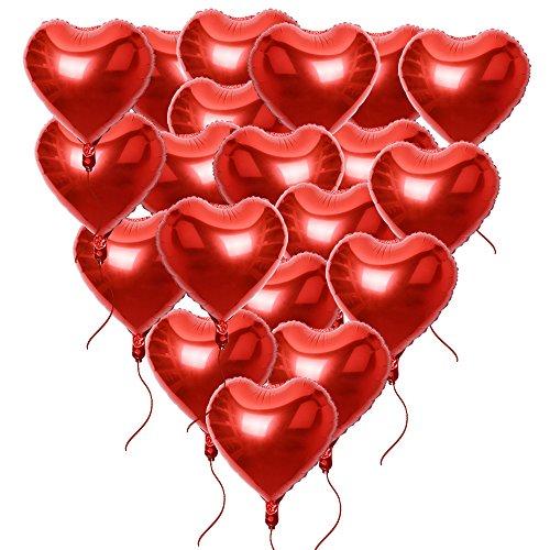 20 pz 46*53cm Palloncini di Cuore Rosso con Corde Decorazione Festa San Valentino Matrimonio Fidanzamento Battesimo Compleanno