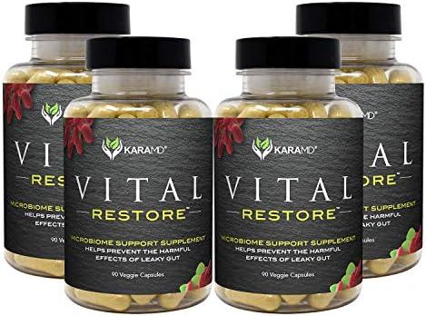 KaraMD Vital Restore   Doctor Formulated Leaky Gut Repair   Gastric & Intestinal Health   Total Restore of Probiotic Enzymes, Energy, Gut Lining   Natural Digestive Supplement, 90 Capsules