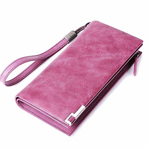 Mappen der Frauen Damenbrieftasche Brieftasche aus Leder mit langem Reißverschluss...