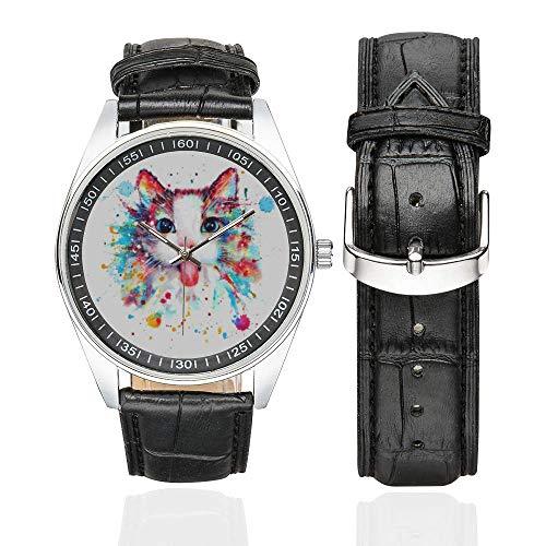 Reloj de Pulsera para Amantes de los Gatos, con Correa de Piel, Color Agua