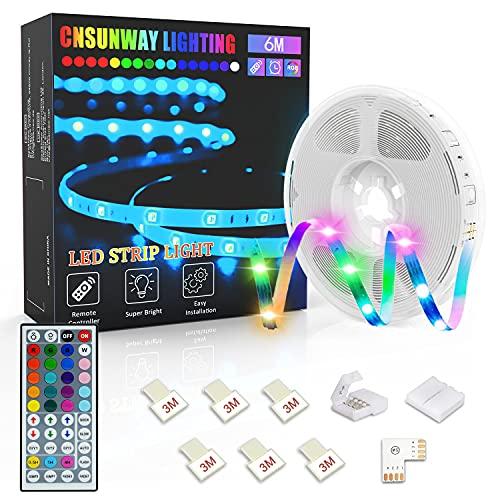 Tiras LED 6M, CNSUNWAY Luces LED RGB 5050 con Control Remoto de 44 Botones, Tira LED 20 Colores 8 Modos de Brillo y 6 opciones DIY para la Habitación, Dormitorio, Techo