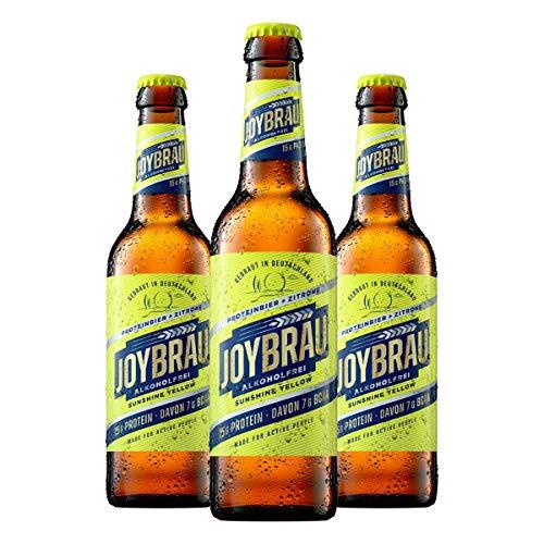 """JoyBräu Sportbier alkoholfrei """"Sunshine Yellow"""" 15g veganes Protein 7g BCAA Natürlich zitronig"""