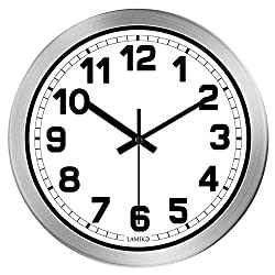 LAMIKO Wall Clocks Non-Ticking Silent 12 Inch Battery Operated Quartz Decro Clock Easy to Read for Room/Home/Kitchen/Bedroom/Office/School, Aluminum Frame Silver