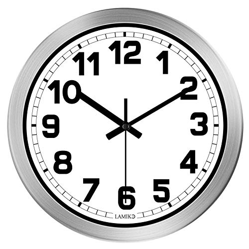 LAMIKO Non-Ticking Silent Wall Clocks 12 Inch Battery Operated Quartz Decro Clock Easy to Read for Room Home Kitchen Bedroom Office School Aluminum Frame Silver