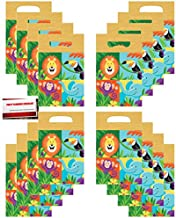 Jungle Forest Animals Safari Lion Elephant Monkey Birthday Party (16 Pack) Plastic Loot Treat Candy Favor Bags (Plus Party Planning Checklist by Mikes Super Store)