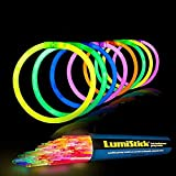 Lumistick 8 Inch Glow Sticks | Bendable Glowstick Necklace and Bracelet | Kids Safe & Non-Toxic Illuminating Bangles and Necklet | Bendable Light Up Neon Jewelry Pack (Assorted, 1000 Glow Sticks)