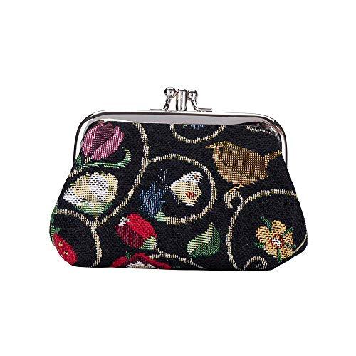 Signare Tapestry Arazzo Arazzo Portamonete da Donna con Doppia Chiusura Kiss Lock, Coin Purse Danna con Disegni da Giardino (Jacobean Dream)