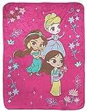 Disney Princess Raschel Throw Blanket - Measures 43.5 x 55 inches, Kids Bedding Features Princess Cinderella, Jasmine, & Mulan - Fade Resistant Super Soft (Official Disney Product)