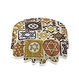 Nappe ronde juive en lin avec bord en dentelle pour décoration de cuisine et salle à manger 152,4 cm