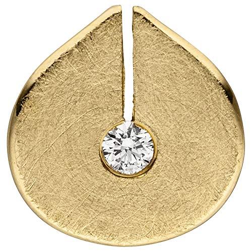 JOBO Damen Anhänger 585 Gold Gelbgold eismatt 1 Diamant Brillant Diamantanhänger