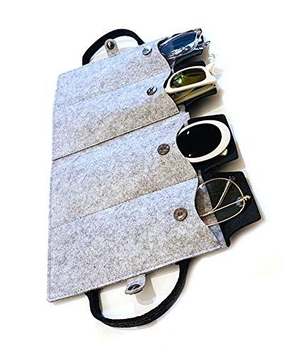 JAVOedge Felt Travel Storage Organizer [4 Slots] Case with Handle for Eyeglass, Sunglass, Glasses, Secure Snap Enclosure