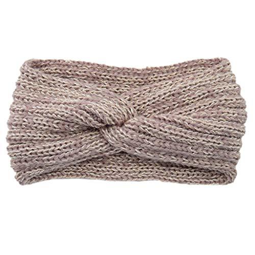 Qiman - Fascia per capelli da donna, fatta a mano, lucida, lavorata a maglia, con croce e quer Twist nodi, tinta unita, elasticizzata