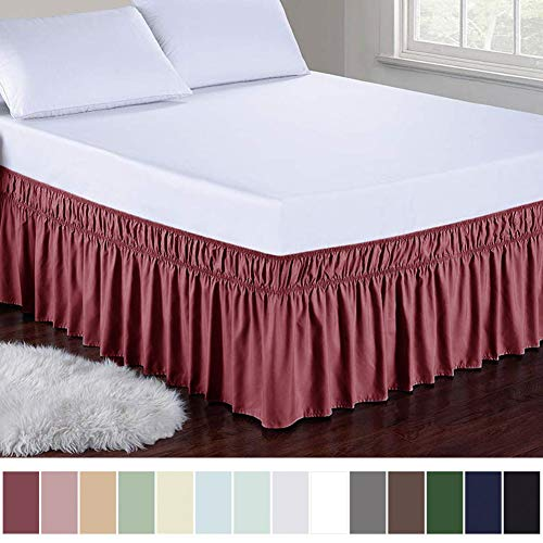 Obytex Wrap Around Bed Skirts Fashional Elastic Dust Ruffle Silky Soft & Wrinkle Free Classic Stylish Look in Your Bedroom (Burgundy, Twin/Full)