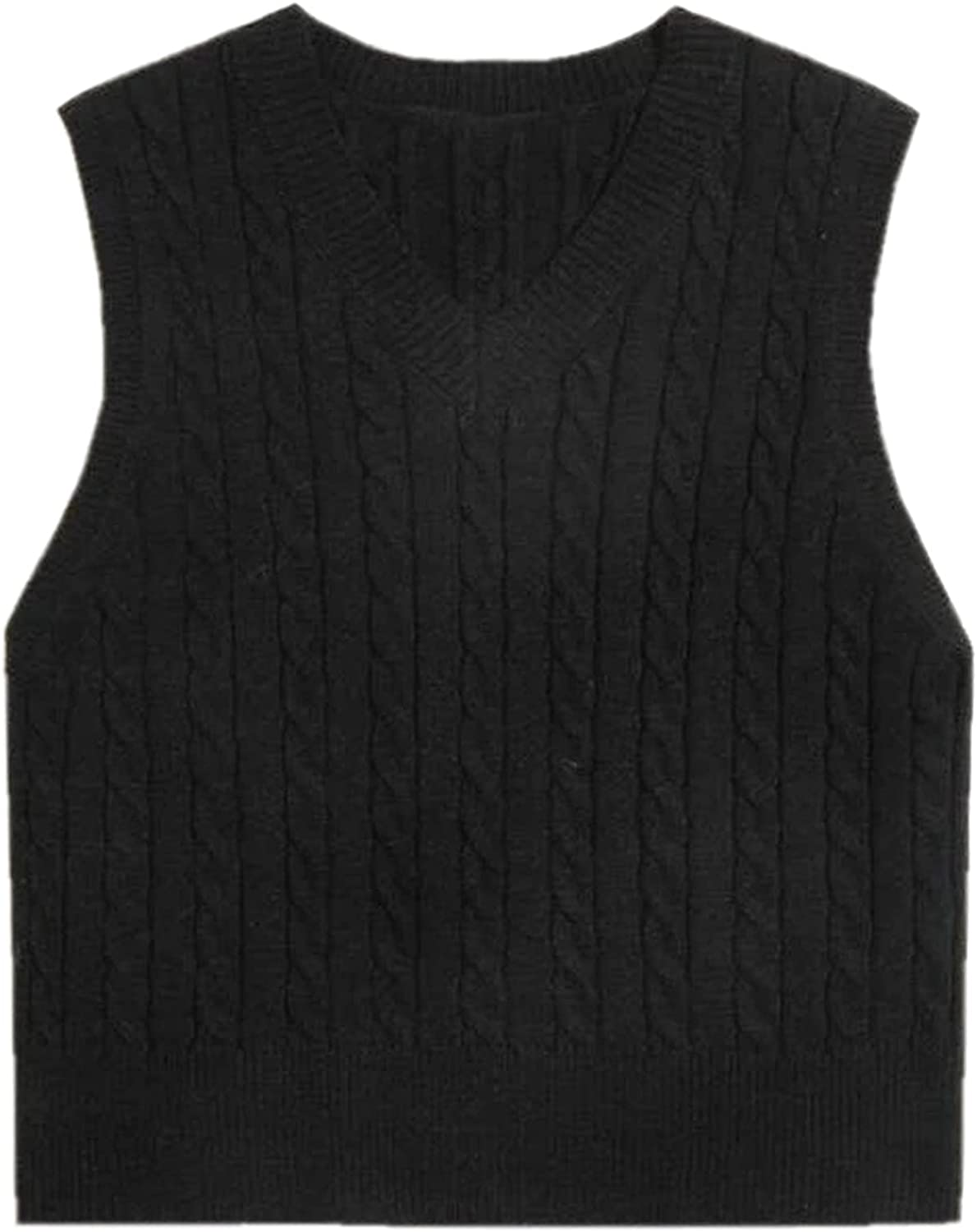 Betusline Women's Cable Knit Sleeveless Crop Sweater Vests
