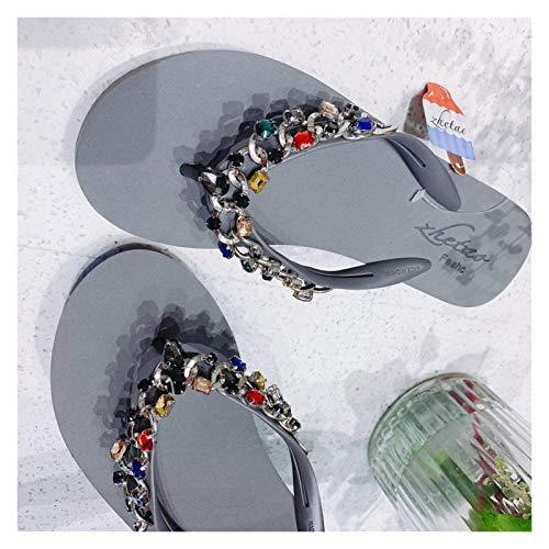 `Star Empty Pantuflas de Mujer Pendiente de Verano Plataforma de talón 5 cm Moda Playa Flip Chanclas de Lujo Firma de Lujo Cadena de Rhinestone Sandalias (Color : Gray, Size : 36)