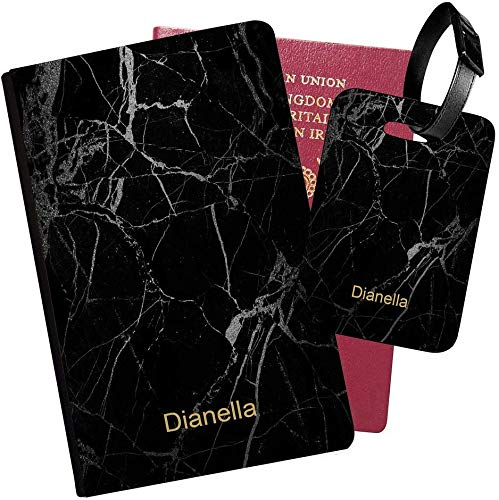 Personalised Marble PU Leather Passport Holder Travel Wallet & Luggage Tag Set - 40