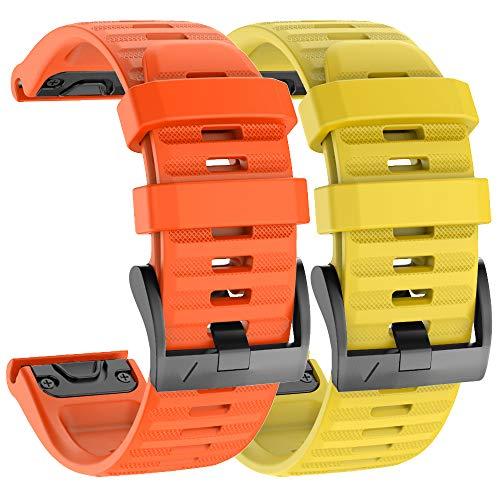 Isabake Correa de Reloj para Garmin Fenix 6X / 6X Pro, Fenix 5X / 5X Plus, Accesorios Fenix 3/3 HR, Banda QuickFit de 26 mm de Ancho (Amarillo/Naranja)