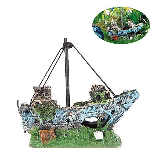 inherited Aquarium Dekoration Schiff, Harz Angeln Schiff Aquarium Dekor für Aquarium, Corsair Schiff Versunkene Boot Segelschiff für Aquarium Dekoration, ideal für kleine Garnele Fisch Schildkröte